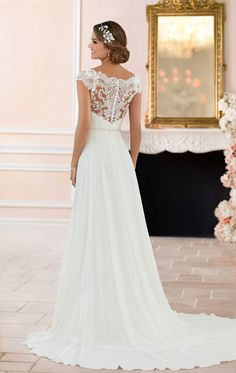 6365 - Eve - Stella York 6365, Chiffon A-line wedding dress with off the shoulder/Bateau neckline lace Illusion bodice available at Blessings of Brighton, BN1 5GG. Telephone: 01273 505766