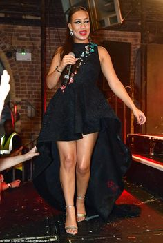 Leggy lady: Rebecca Ferguson showed off her talent - and her sartorial flair - as she performed at G-A-Y at London's Heaven nightclub on Sunday night