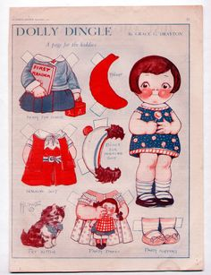 Vintage DOLLY DINGLE paper dolls 1931 uncut/PET KITTEN/PARTY DRESS/SCHOOL BERET