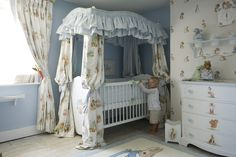 A luxury Beatrix Potter roomset designed by Dragons of Walton Street. Each illustration has been hand-painted by our talented artists. Roomset includes Four-poster Cot, Large Chest of Drawers, Waste Bin, Pot Shelf, Shaped Clock and Bespoke Dragons Curtains.  www.dragonsofwaltonstreet.com