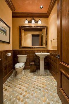 craftsman powder room with kohler memoirs classic pedestal bathroom sink ceramic tile floors - Craftsman Bathroom Ideas