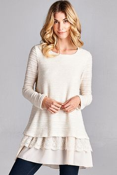 Ruffle Tunic Top with Lace