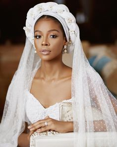 7 Gorgeous Bridal Turban & Veil Ideas for Muslim Weddings - Page 2 of 5 - NaijaGlamWedding Are you a Muslim/ hijabi bride marrying soon, see pictures of bridal turbans & veils that can enhance your look to bride without losing traditional touch Gothic Wedding, Dream Wedding, Muslim Brides, Muslim Couples, Black Bride, Bridal Beauty, Bridal Outfits, Bridal Portraits, Bridal Looks