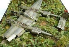 """Twin Engine Down"" HASEGAWA 1/48 scale Lockheed P-38J Lightning. By Mike Garamond. #scale_model #diorama"
