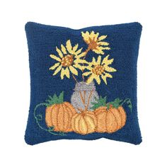 Decor 140 Holiday Hooked Throw Pillow Cover - 18'' x 18'', Blue (Navy)