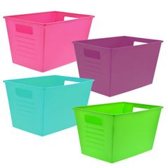 Bright Plastic Locker Bins with Handles Decorative Storage Bins, Plastic Storage, Classroom Hacks, Classroom Themes, Plastic Lockers, Milk Crates, School Decorations, Declutter, Storage Organization