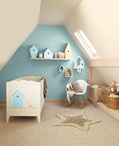 Love the bird houses on the shelves and the open bird house shelves. Simple and easy for a girl's bird nursery!
