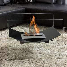 Floating fireplace = no mess, no wall switch, no awkward divider between you and the heat.