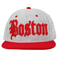 3a5597ee1 Old English Boston Designed Heather Grey Quality Snapback Cap - Red - - Hats  & Caps, Men's Hats & Caps, Baseball Caps