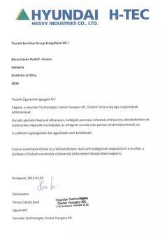 Hyudnai H-TEC Hosszú László Zsolt irodaköltöztetés utáni köszönőlevele