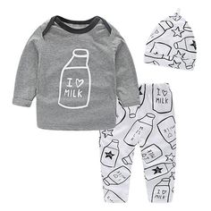9fbeb3f3f I Love Milk Print Long-Sleeve Shirt, Pants and Hat Set. Bunny OutfitNew Baby  GirlsBaby BoysChildren's ...