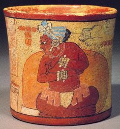 Seated Scribe with blue headdress, bracelets, loincloth with Lily, painted cup Mayan. Machu Picchu, Ancient World History, Maya Civilization, Mayan Cities, Vases, Inka, Mesoamerican, Native American Art, American Indians