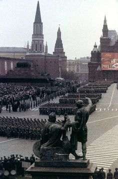 Formations of staff officers and officer-scholars of Soviet military academies marching down Red Square at the 1984 Moscow October Revolution Day Parade.