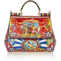 Dolce & Gabbana Sicily medium printed textured-leather shoulder bag (8.840 BRL) ❤ liked on Polyvore featuring bags, handbags, shoulder bags, red, print purse, dolce gabbana purse, dolce&gabbana, print handbags and multi colored purses
