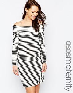 ASOS Maternity Off Shoulder Dress In Stripe