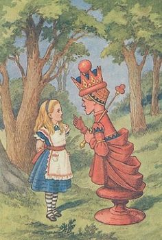 Alice and the Red Queen, by John Tenniel. Coloring of the image was done later.