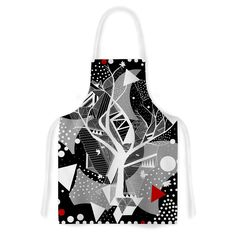 Kess InHouse Marianna Tankelevich 'Geometric Play' Black Red Artistic Apron