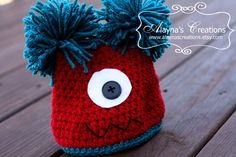 Double Pom Pom Monster Beanie Custom Crochet.