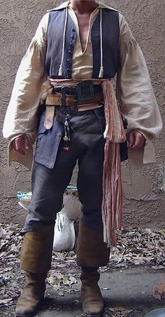 Pirate shoes top pants scarf vest belt man