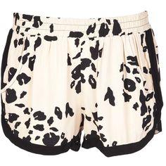SAM & LAVI 'Leo' short ($125) ❤ liked on Polyvore featuring shorts, bottoms, short, elastic waist shorts, print shorts, patterned shorts, elastic waistband shorts and stretch waist shorts