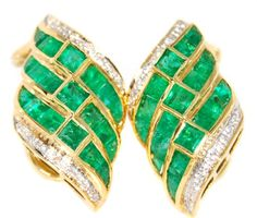 Natural Diamond Gemstone Emerald Earrings 18K Yellow Gold... https://www.amazon.com/dp/B00CKIDPVQ/ref=cm_sw_r_pi_dp_P-fFxbEWW1ZBH