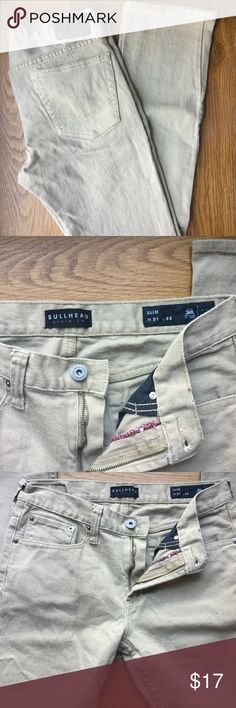 BullHead Means Slim Khaki Pants Bullhead Pants ~ Great Condition ~ Dark Khaki ~ Mens Size 31 X 32  MP001 Bullhead Jeans Slim