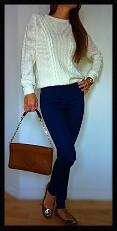 Classy casual look- Forever XXI white wool sweater, Zara dark blue pants, MK watch, Tory Burch brown loafers, Tory Burch brown tote