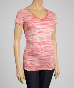 This Coral Burnout Ruched Maternity V-Neck Tee - Women & Plus is perfect! #zulilyfinds