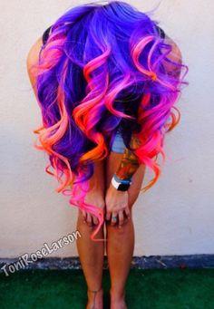 Purple pink and orange hair