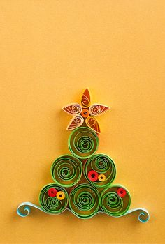 #QUILLED Handmade Christmas greeting card, made with quilling technique. Size 10/14.5 cm. Material - paper. Vertical orientated. Colors - yellow, green, red.