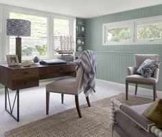 This room used to be dated wood paneling. What a refreshing update!