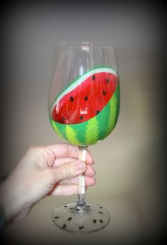 WATERMELON Hand Painted Wine Glass Sliced Open Fruit Summer Spring Drinks Kitchen Decor by TheTattooedButterfly