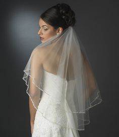 Glistening Two Layer Elbow Length Wedding Veil with Beaded Pearl Edge- Affordable Elegance Bridal - Bridal Veils And Headpieces, Wedding Veils, Wedding Dresses, Fingertip Veil, Short Veil, Veil Hairstyles, Wedding Hairstyles, Bridal Beauty, Bridal Hair