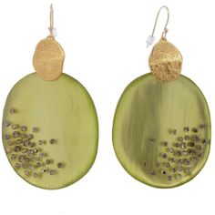 Alexis Bittar Large Dune Dust Wafer Earrings - Pale Olive ❤ liked on Polyvore