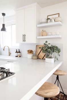 Home Interior Design Swapping out the white floating shelves for wood White Kitchens Design floating Home Interior shelves Swapping white Wood Rustic Kitchen, New Kitchen, Kitchen Decor, Kitchen Ideas, Kitchen Counters, Kitchen Cabinets, Soapstone Kitchen, Distressed Kitchen, Minimal Kitchen