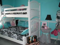 Girls Room - Tiffany Inspired, Tiffany Inspired Girls Room; Black & White and Teal Very girly!, The side table was fun!  Used the TWIN sheet...