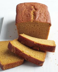 Gluten-free Pumpkin Bread.  Doesn't taste very pumpkin-y, but it is good!  Very moist--I'm not gluten-free (my friend is), and I would make this again! Added choco chips, ginger, and more cinnamon. Used milk+vinegar instead of buttermilk.