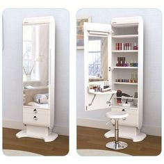 New makeup vanity mirror diy dressing tables ideas Mirrored Bedroom Furniture, Bedroom Dressers, Closet Bedroom, Bedroom Decor, Mirror Bedroom, Master Bedroom, Bedroom Lighting, Bedroom With Vanity, Bedroom Cabinets