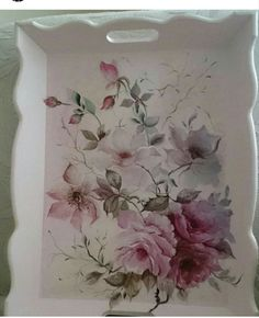Decoupage Furniture, Decoupage Art, Decoupage Vintage, Fun Crafts, Diy And Crafts, Painted Trays, Pintura Country, Wooden Art, Shabby Chic