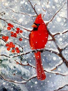 Cardinal Red Cardinal Print Cardinal in Snow Red Bird Bird Art Susan Rios Cardinal Print Painting Snow, Winter Painting, Winter Art, Painting Art, Christmas Bird, Vintage Christmas, Cardinal Birds, Bird Crafts, Bird Pictures