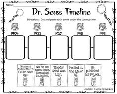 Dr. Seuss ~ Theodor Geisel Timeline Cut and Paste FREEBIE!  You also might want to check out this set of 10 Centers for only $5.00 It's a Fan-Tas-Tical Day! 10 Math and Literacy Centers   I am pleased to offer this cut and paste activity to you for FREE!