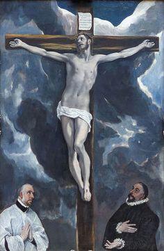Cristo crucificado con dos donantes. El Greco  1590 Manierismo