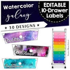 Rolling Cart 10 Drawer Labels EDITABLE Editable Labels for your rolling carts in a beautiful galaxy or space theme. Just great for your classroom org. Space Theme Classroom, Classroom Labels, Science Classroom, Future Classroom, School Classroom, Classroom Decor, Science Room, Classroom Environment, Kindergarten Classroom