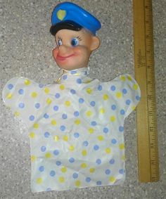 Vintage My Toy Hand Puppet Police Man Rubber head Beat Cop Goofy Face 1962 #MyToy