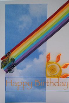 Rainbow card with quilled sun by Philippa Reid, via Flickr