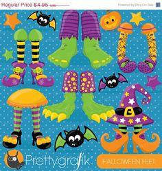 80 OFF SALE Halloween Feet clipart by Prettygrafikdesign on Etsy, #clipart