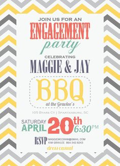 BBQ Casual Engagement Party Chevron Mint Lemon Coral Gray Vintage Fonts DIY on Etsy, $1.76