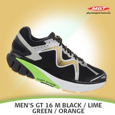 MBT Men's GT 16 M Black Shoes : The Men's GT is equipped with a patent-pending 3 sensor design to confer cushioning and maximum support under your feet. Sizes run in US equivalents. Available in Black, Orange and Lime Green. Runing Shoes, Running Shoes For Men, Green And Orange, Black Shoes, Footwear, Sneakers Nike, Pairs, Patent Pending, Contouring