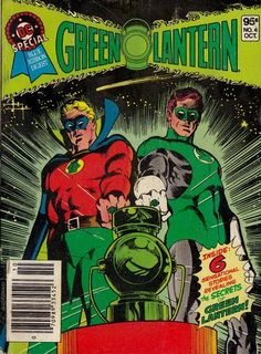 NEW! New and old Lantern bromance by Dick Giordano (there was no need to blow up Earth-2; it had its place to file the JSA GL like the Dewey Decimal System). OLD! The intro of Hector Hammond; Hal's girlfriend Carol is transformed into GL's villain Star Sapphire; Hal and Alan Scott (both pictured) bear witness to the secret origin of the Guardians of the Universe (the story also introduces rogue Guardian Krona).
