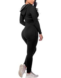 a6e1f311e2e CoolooC Women s Hoodie Long Sleeve Zip Up Pockets Bodycon Romper Jumpsuits
